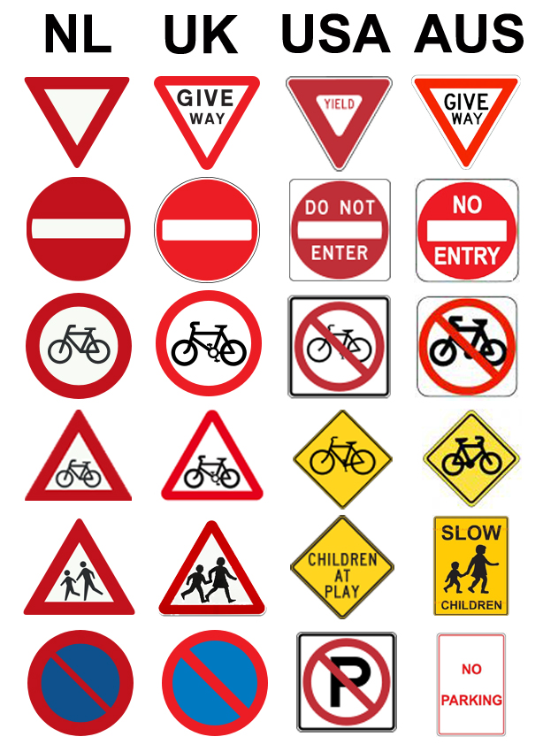 UK USA AUS Netherlands traffic sign comparison